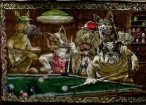 Dogs Shooting Pool 71 X 47 Wall Tapestry Jack Berg Sales