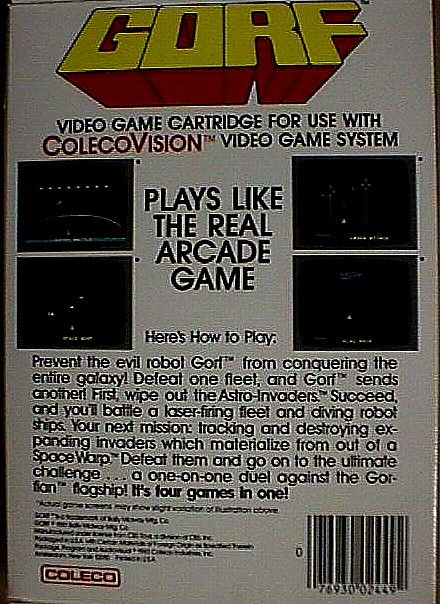 Bally Midway Gorf For Colecovision Jack Berg Sales